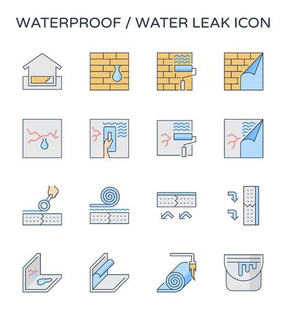 Waterproof and water leak icon set, editable stroke.