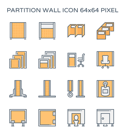Partition wall or divide space equipment icon set, 64x64 perfect pixel and editable stroke.