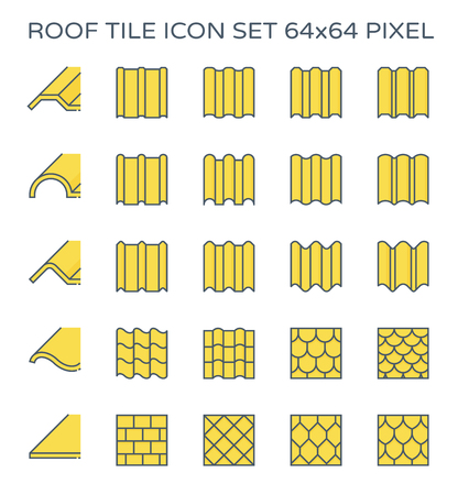 Roof tile icon set, 64x64 perfect pixel and editable stroke.