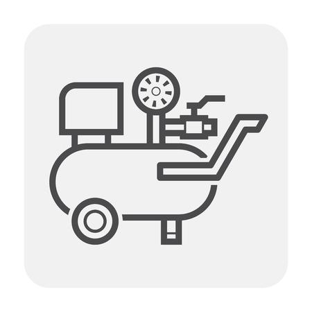 Serbatoio del compressore d'aria e disegno dell'icona del manometro, nero e contorno.