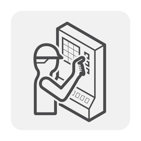 CNC freesmachine pictogram ontwerp, zwart en omtrek. Vector Illustratie
