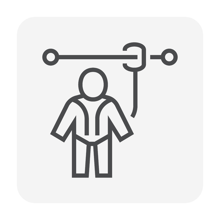 Safety harness icon, 64x64 perfect pixel and editable stroke.