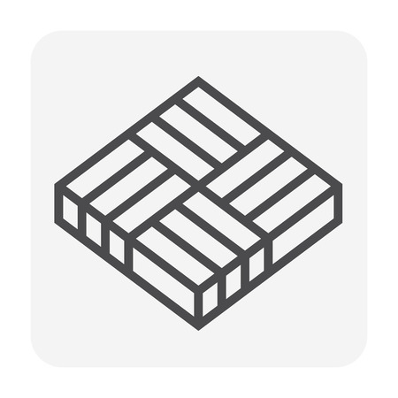 Concrete paver block floor icon, editable stroke. Stock Vector - 107238499