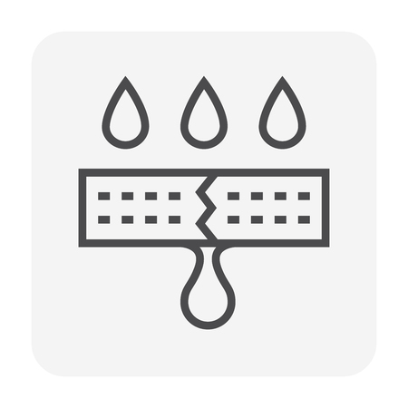 Waterproof and water leak icon, 64x64 perfect pixel and editable stroke. Stock Illustratie