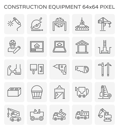 Construction equipment and tool icon set, 64x64 perfect pixel and editable stroke.