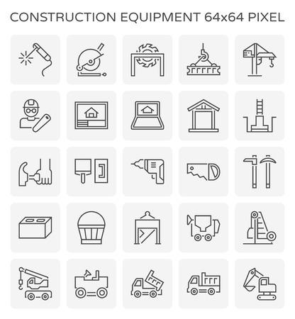 Ensemble d'icônes d'équipement de construction et d'outils, pixel parfait de 64x64 et trait modifiable.