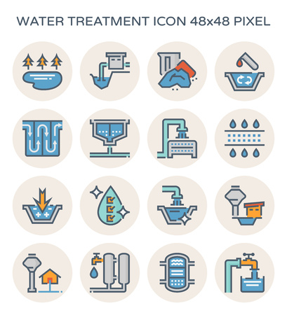 Water treatment system and water filter icon set, 64x64 perfect pixel and editable stroke. Ilustração
