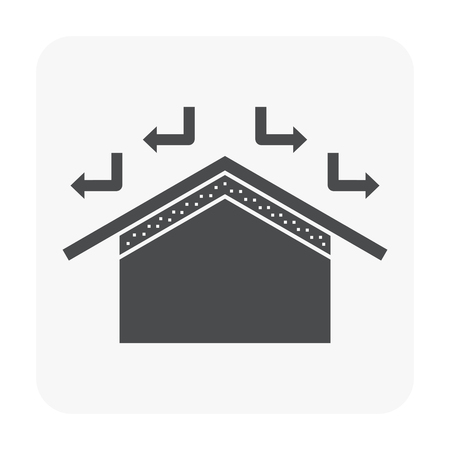 Roof and material icon on white.