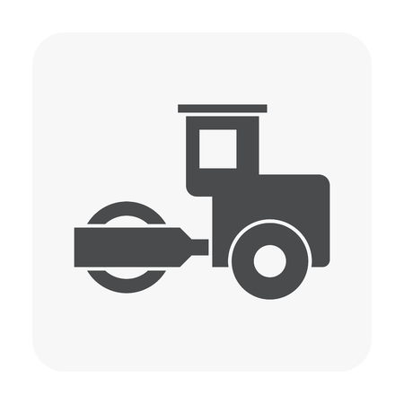 Soil compaction and equipment icon on white.