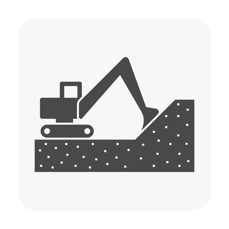 Soil excavation and equipment icon on white.