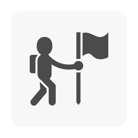 Camping and activity icon on white.