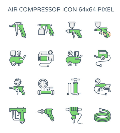 Air compressor and tool icon set, 64x64 perfect pixel and editable stroke. Ilustração