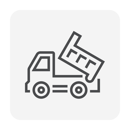 Tipper truck icon design, 64x64 perfect pixel and editable stroke. Illustration