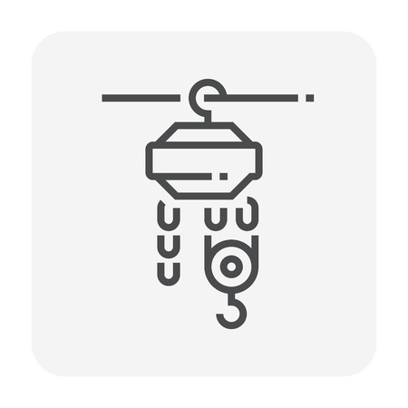 Winch or lifting machine icon, 64x64 perfect pixel and editable stroke.