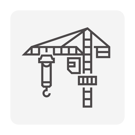 Tower crane icon for construction work.