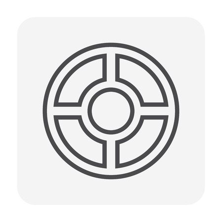 Steel cover for drainage system icon, 64x64 perfect pixel and editable stroke. Stock Illustratie