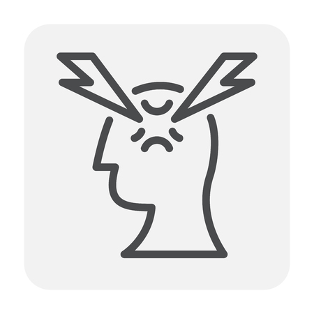 Stress and pressure in head icon design, editable stroke.