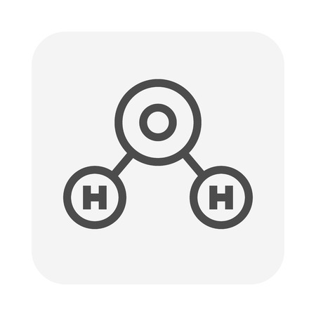 Water molecule icon, 64x64 perfect pixel and editable stroke. Ilustração