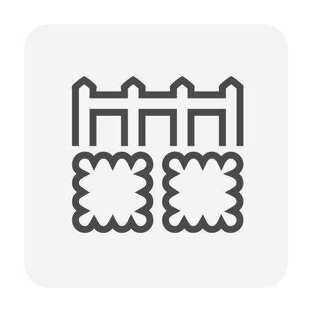 Grass and fence icon design, editable stroke. Vettoriali
