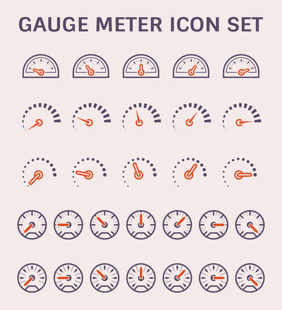 Gauge meter vector icon set design.