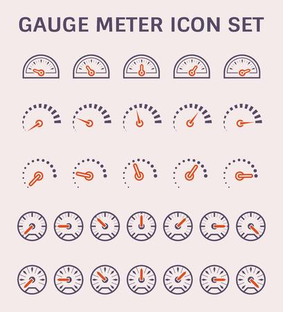 Conception de jeu d'icônes de jauge mètre vecteur.