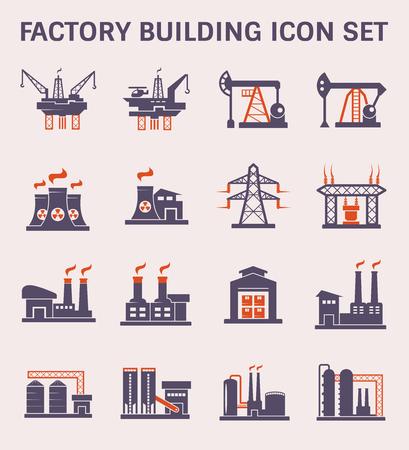 Symbol für Fabrikgebäude und Industrieanlagen. Vektorgrafik