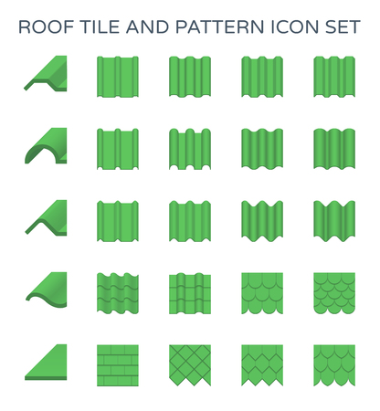 Roof tile and pattern icon set.