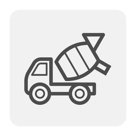 Konkretes LKW-Icon-Design, schwarz und Umriss. Vektorgrafik