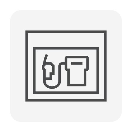 Petrol station and equipment icon design, editable stroke.