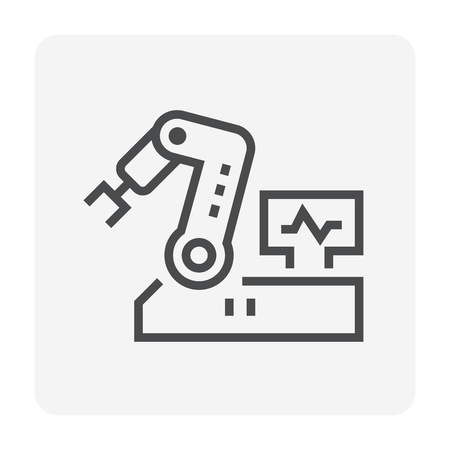 Artificial Intelligence and robot icon, 64x64 perfect pixel and editable stroke.