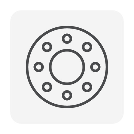 Steel plate for pipe connector icon, 64x64 perfect pixel and editable stroke. Illustration