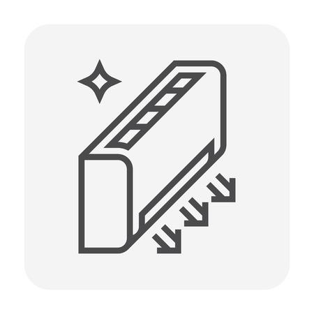 Icône de nettoyage de climatiseur, pixel parfait 64x64 et trait modifiable.