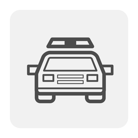 Police car icon, black and outline.