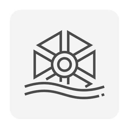 Water turbine icon for water treatment work, 64x64 perfect pixel and editable stroke.