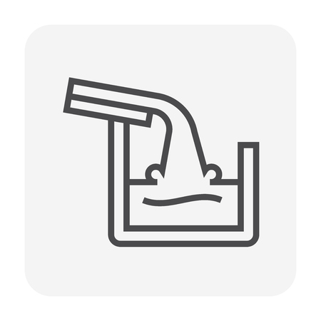 Gutter and drainage system icon, 64x64 perfect pixel and editable stroke. Çizim