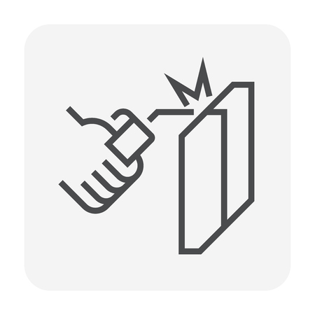 Welding work and tools icon, 64x64 perfect pixel and editable stroke. Illustration