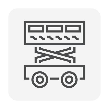 Diseño de icono de elevador de tijera para trabajos de elevación, píxeles perfectos de 64 x 64 y trazo editable. Ilustración de vector