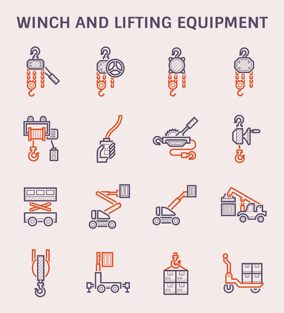 Winch and lifting equipment icon set, color and outline.