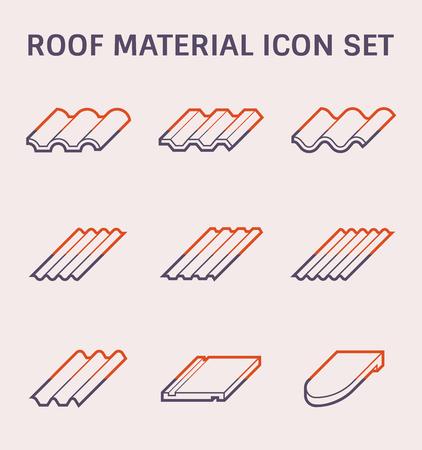 Jeu d'icônes de matériau de toiture, couleur et contour. Vecteurs