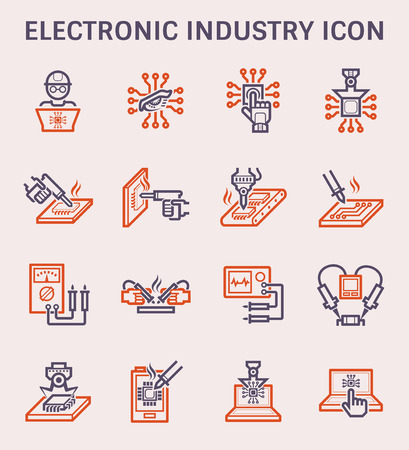 Electronics industry icon set, color and outline.
