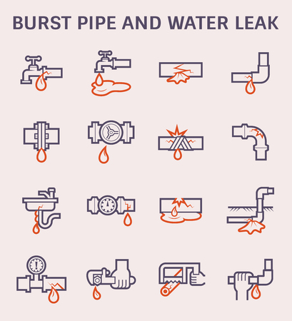 Burst pipe and water leak icon set, color and outline. Illustration