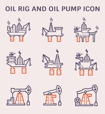 Oil rig and oil pump icon set, color and outline.