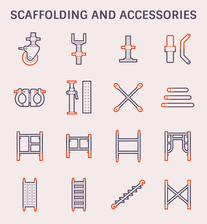 Scaffolding and accessory icon set, color and outline.