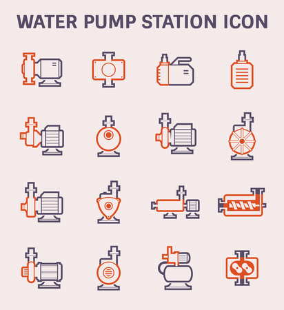 Electric water pump and steel pipe for water distribution icon design, color and outline.