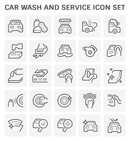 Car wash and service icon  set for car care business graphic design.