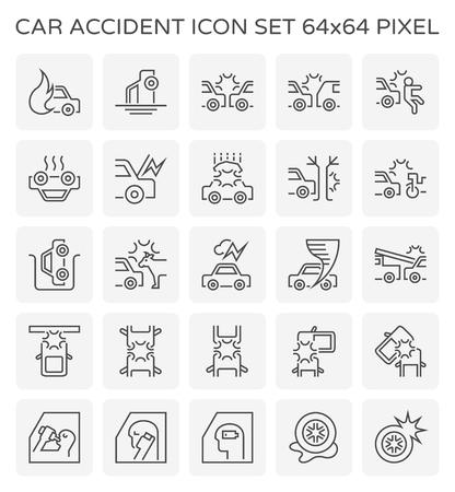 Car accident icon design, 64x64 perfect pixel and editable stroke. Ilustração Vetorial