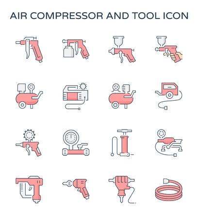 Air compressor and tool icon set, editable stroke. Illustration