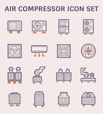 Symboldesign, Farbe und Umriss für Klimaanlage und Luftkompressor.