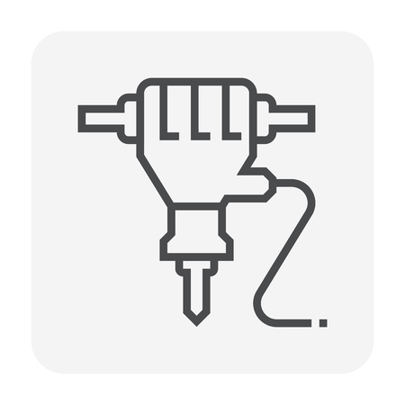 Jackhammer icon design, 64x64 perfect pixel and editable stroke.  イラスト・ベクター素材