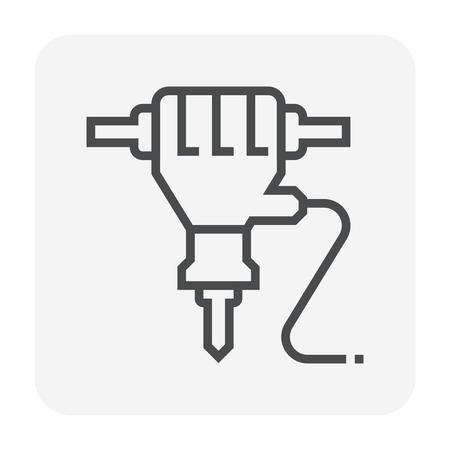 Jackhammer icon design, 64x64 perfect pixel and editable stroke.  イラスト・ベクター素材